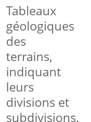 """Afficher """"Tableaux géologiques des terrains, indiquant leurs divisions et subdivisions, etc."""""""